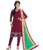 A G Lifestyle Maroon Banarsi Chanderi Jacquared Dress Material with Dupatta LBS1031