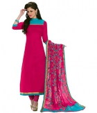 A G Lifestyle Pink Banarsi Chanderi Jacquared Dress Material with Dupatta LBS1034