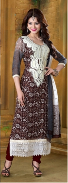 Urwashi Georgette Brown  Semi Stitched Anarkali Suit VHPH11-2013