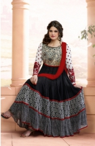Zareen Khan Georgette Black And White Semi Stitched Anarkali Suit VHPH13-2027