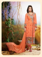 Orange Embroidered Georgette  Designer Straight Suit VHZR-113