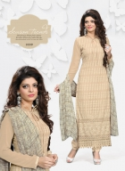 Khantil Latest Schiffli Cream Dress Material DM2261-1009