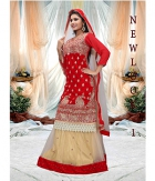 Jomso Red And Beige Net Lehenga JOM286NL1