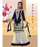 Jomso Blue And White Net Lehenga JOM286NL3