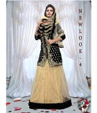 Jomso Black And Beige Net Lehenga JOM286NL4