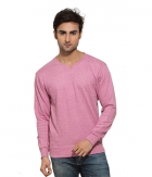 Clifton Mens Neppy Melange Sweat Shirt-Cool Pink-V-Neck AAA00021504