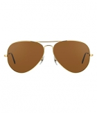 Superdeals Golden Frame And Regular Brown Glass Aviator Sunglasses For Men And Women SD284