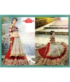 Indian Designer Red Gulab Net Duppata Net And Georgette Lehenga ET-9508