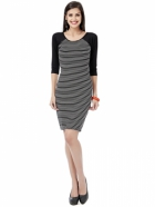 EAVAN Black Strip Printed Bodycon Dress EA1242