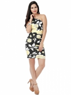 EAVAN Black-Yellow Printed Bodycon Dress EA1243