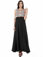 EAVAN Black Solid Maxi  Dress EA1245