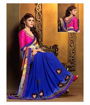 A G Lifestyle Blue Faux Georgette Saree with Unstitched Blouse VED32012
