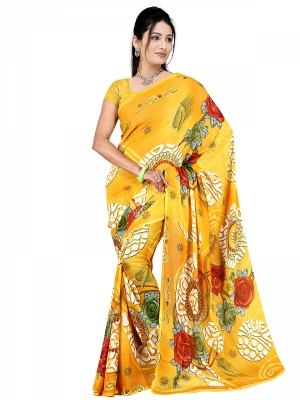 Shonaya  Yellow Georgette Printed Sarees With Blouse Piece ARCLE-1013