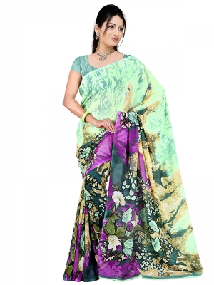 Shonaya  Multicolour Georgette Printed Sarees With Blouse Piece ARCLE-1018
