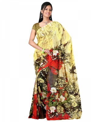 Shonaya  Multicolour Georgette Printed Sarees With Blouse Piece ARCLE-1019