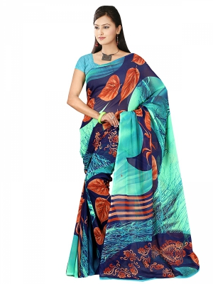 Shonaya  Multicolour Georgette Printed Sarees With Blouse Piece ARCLE-1022