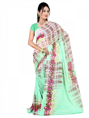 Shonaya  Light Green Georgette Printed Sarees With Blouse Piece ARCLE-1032