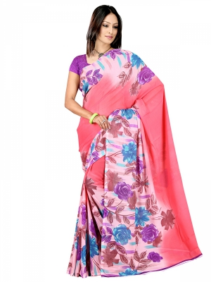 Shonaya  Peach Georgette Printed Sarees With Blouse Piece ARCLE-1035