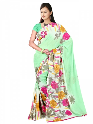 Shonaya  Light Green Georgette Printed Sarees With Blouse Piece ARCLE-1036