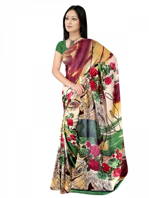 Shonaya  Multicolour Georgette Printed Sarees With Blouse Piece ARCLE-1044