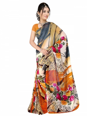 Shonaya  Multicolour Georgette Printed Sarees With Blouse Piece ARCLE-1046