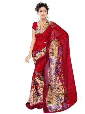 Shonaya  Multicolour Georgette Printed Sarees With Blouse Piece ARCLE-1063