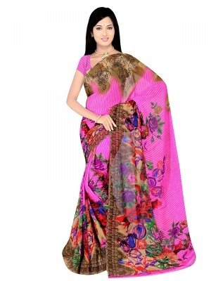Shonaya  Multicolour Georgette Printed Sarees With Blouse Piece ARCLE-1067
