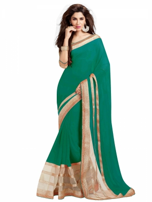 Dark Green Designer Georgette Embroidery Lace Border Work Sarees With Blouse Piece HIFAN-4028-DG