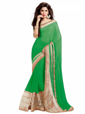 Light Green Designer Georgette Embroidery Lace Border Work Sarees With Blouse Piece HIFAN-4028-LI