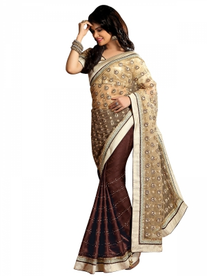 Shonaya  Cream And Brown Designer Jacquard Net Embroidery Work Sarees With Blouse Piece HYARV-1409