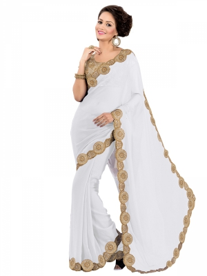 Shonaya  White Designer Georgette Embroidery Lace Border Work Sarees With Blouse Piece HYSPF-280_W