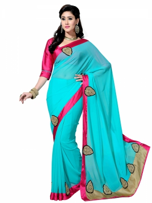 Shonaya  Sky Blue Designer Georgette Embroidery Work Sarees With Blouse Piece HYVLS-10001