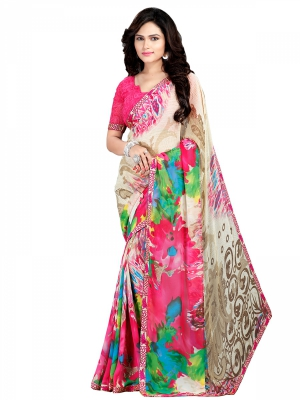 Multicolour Designer Georgette Printed Sarees With Blouse Piece PIKTK-1018