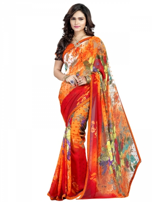 Orange And Red Designer Georgette Printed Sarees With Blouse Piece PIKTK-1026