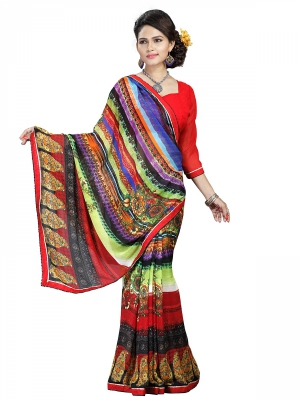 Multicolour Designer Georgette Printed Sarees With Blouse Piece PIKTK-1034