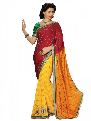 Maroon And Yellow Designer Georgette Embroidery Work Sarees With Blouse Piece SGBND-4805