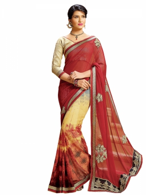 Maroon Designer Georgette Embroidery Work Sarees With Blouse Piece SGDYN-4707