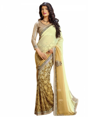 Cream Designer Georgette Embroidery Work Sarees With Blouse Piece SGDYN-4708