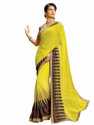 Yellow Designer Georgette Embroidery Work Sarees With Blouse Piece SGDYN-4713