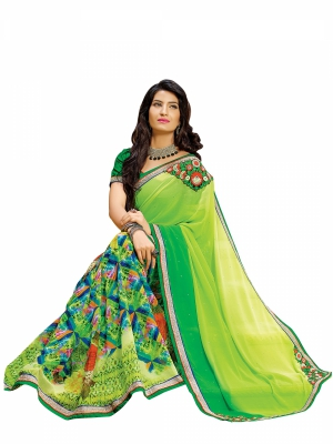 Green And Yellow Designer Georgette Embroidery Work Sarees With Blouse Piece SGDYN-4714