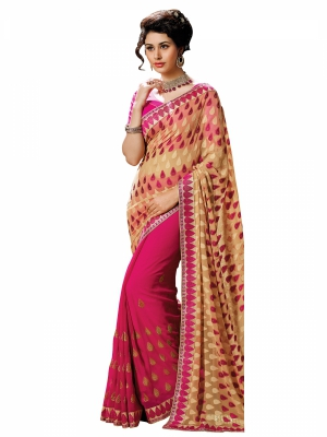 Cream And Pink Designer Georgette Embroidery Work Sarees With Blouse Piece SGGRA-7456