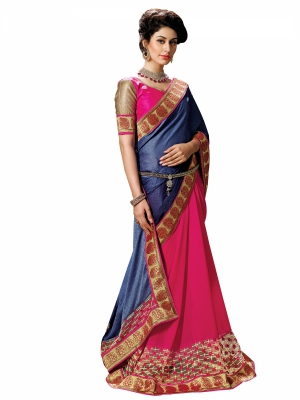Blue And Pink Designer Georgette Embroidery Work Sarees With Blouse Piece SGGRA-7457