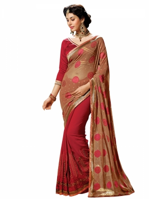 Cream And Maroon Designer Georgette Embroidery Work Sarees With Blouse Piece SGGRA-7466