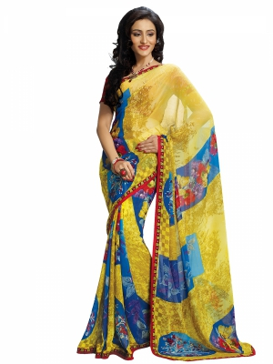 Yellow And Blue Designer Georgette Printed Sarees With Blouse Piece SGHRT-2255