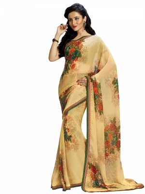 Cream Designer Georgette Printed Sarees With Blouse Piece SGHRT-2258