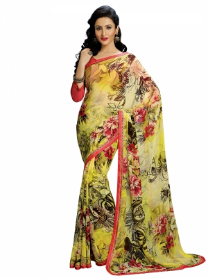 Yellow Designer Georgette Printed Sarees With Blouse Piece SGHRT-2266