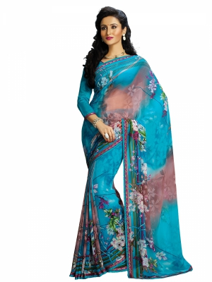 Sky Blue Designer Georgette Printed Sarees With Blouse Piece SGHRT-2270