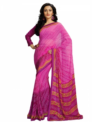 Pink Designer Georgette Printed Sarees With Blouse Piece SGHRT-2271