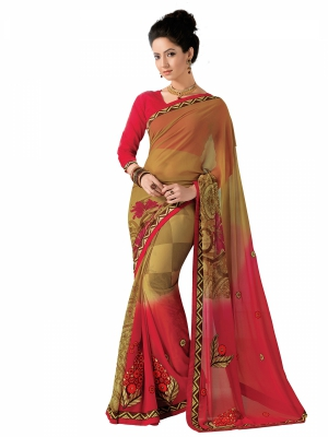Cream And Red Designer Georgette Embroidery Work Sarees With Blouse Piece SGMNT-4751-B
