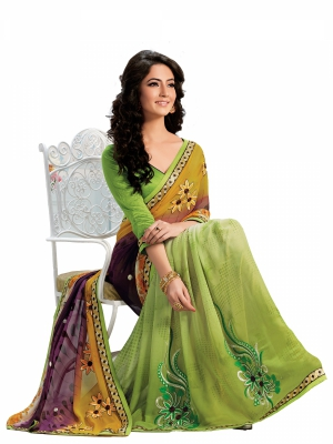 Multicolour Designer Georgette Embroidery Work Sarees With Blouse Piece SGMNT-4752-A